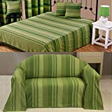Homescapes Morocco Ribbed Stripe Throw 100 x 140 Inches Green 100% Cotton, Suitable for most 3 Seater Sofas or Double,King bedspreads, Easy care, washable at home.