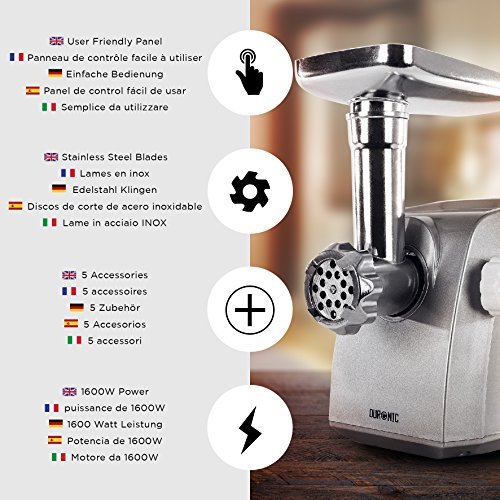 51ne9h78oPL. SS500  - Duronic MG1600 Electric Meat Grinder | Mincer | Sausage and Kebbe Maker – 1800w Motor with a Stainless Steel Body