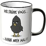 Wandkings® Tasse, Spruch: Der frühe Vogel kann mich mal … - MOTIV 2 - SCHWARZ