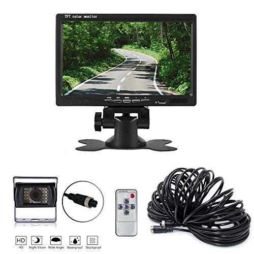 Rückfahrsystem, 7'' TFT Monitor mit Wasserdicht Kamera / Einparkhilfe / 120° Sichtwinkel 24 LED Nachtsichtkamera für Auto LKW Wohnmobil Bus KFZ usw.