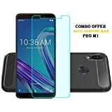 RidivishN® Asus Zenfone Max Pro M1 Back Cover Case,Tempered Glass Screen Protector For Asus Max Pro M1 (COMBO OFFER) (Brushed Black,Transparent)