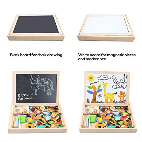 Image of Magnetic Board Puzzle Games 100 Pieces Wooden Kids Toy, Satu Brown Double Face Jigsaw& Drawing Easel Chalkboard Popular Educational Learning Toys