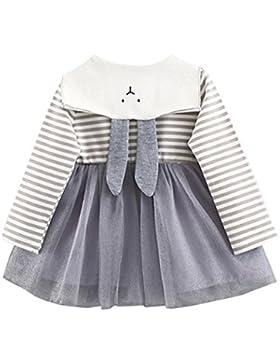Amlaiworld Baby Mädchen langarm gestreift drucken tutu Prinzessin Kleinkind Niedlich Kaninchen Ohren kleidung,...