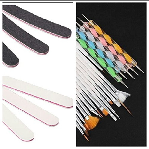 NEW Kit de nail art 26 pièces, Pinceau 15 pièces Blanc + Dotting Swirl Pen 5 Pièces + 6 x Limes blanc et noir pour ongles Design Accessoires peindre