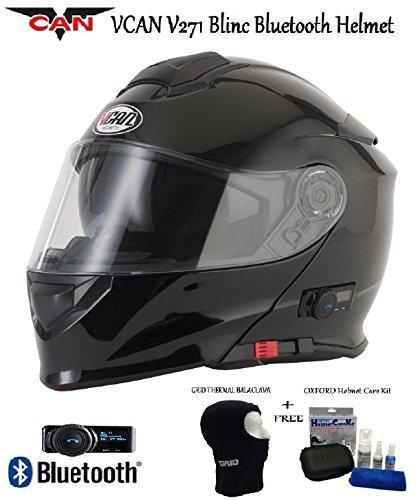 Vcan V271BLINC Bluetooth con tapa frontal casco nuevo moto MP3GPS FM de comunicación de Modular casco brillante negro con Kit de cuidado y pasamontañas negro negro small