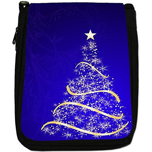 Splendido oro albero di Natale a forma di stella media nero borsa in tela, taglia M Blue Stunning Christmas Tree