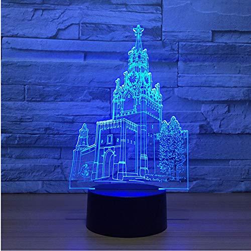 3D Nachtlichter 3D Visuelle Touch-Taste Usb 7 Farben Ändern Schloss Modellierung Romantische Led Nightlight Kirche Schreibtischlampe Wohnkultur Leuchte
