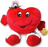 1 x Herzkissen 20 cm Plüsch stehend Arme mit Maus Rot Herz Kissen Valentinstag
