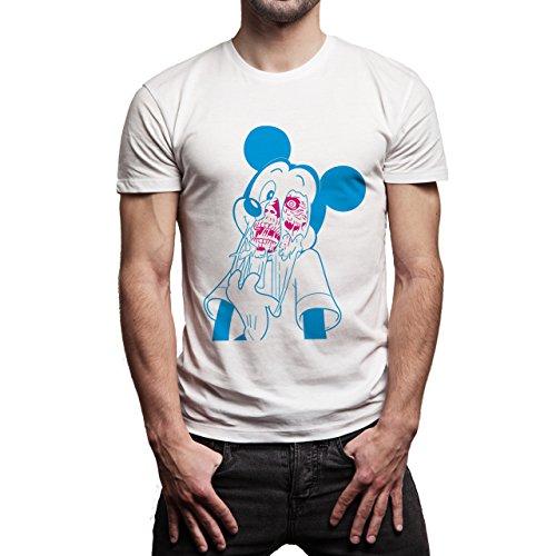 Skull Mickey Blue Background Herren T-Shirt Weiß
