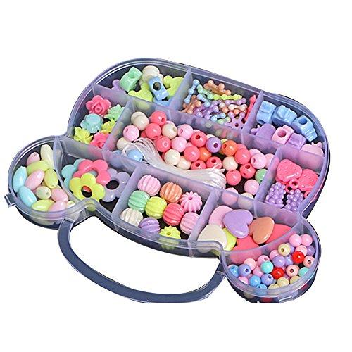 joizo Perle Kidsset für Schmuckherstellung - Craft Beads Kits für kleine Mädchen DIY Halsketten-Armband Kinderspiele buntes Acrylhandgemachte Perlen Set Zubehör-Geschenk für Kinder (große Bär) (Bead Kits Für Mädchen)