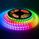 BTF-LIGHTING RGBW RGBCW White SK6812 (Similar WS2812B) 13.1ft 4m 60leds/pixels/m Individually Addressable Flexible 4 Color In 1 LED Dream Color LED Strip Waterproof IP65 DC5V