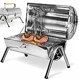 BAKAJI Barbecue Da Tavolo Con Griglia In Acciaio Inox Grill a Carbonella, con doppia zona di cottura, Portatile ideale per Giardino Pic Nic