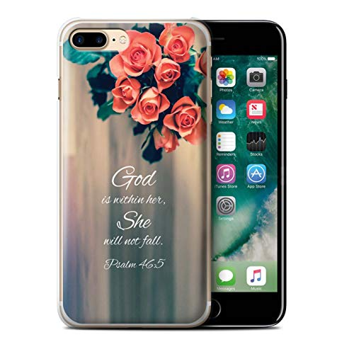 Stuff4® Hülle/Case für Apple iPhone 7 Plus/God Within Her/Psalm Muster/Christliche Bibel Vers Kollektion