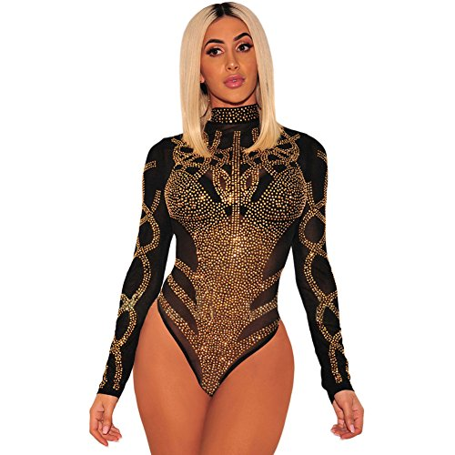 Sexy Lingerie European And American Women'S Europe And The United States New Mesh Hollow Rhinestone High Collar Long-Sleeved Slim One-Piece  Black  M - Rhinestone G-string