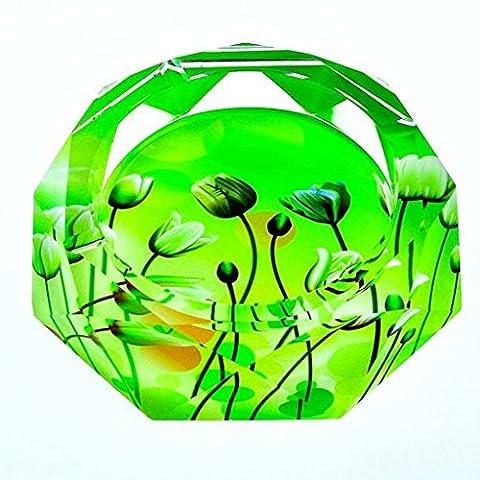 GUO YUN Décoration de mode 3D Green Plants Style d'impression couleur Cristal Verre Cendrier Mode Creative Personnalité Cadeaux Salon avec fumée ( taille : 15*15*4cm )