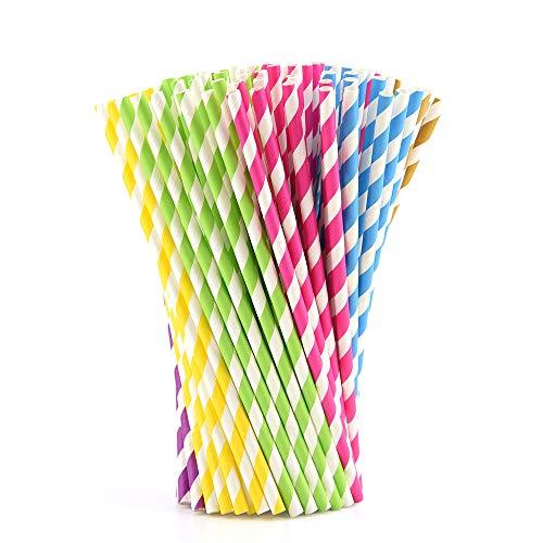 (Kuuqa 150 Stück Papierstrohhalme Regenbogen-Party gestreift Trinkhalme für Geburtstag, Hochzeit, Abschlussfeier, Party Favor)