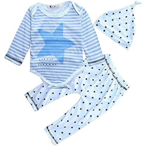 CHENGYANG 3 Pezzi Bambino Abbigliamento Pagliaccetto impostato T-Shirt Top +