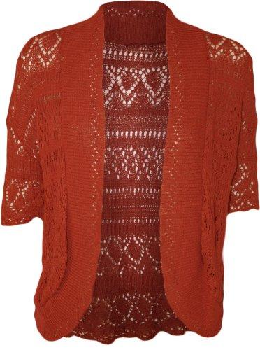 WearAll - Boléro Cardigan Ouvert Tricoté Crochet à Manches Courtes - Hauts - Femme - Grandes Tailles 44-48 Rouille
