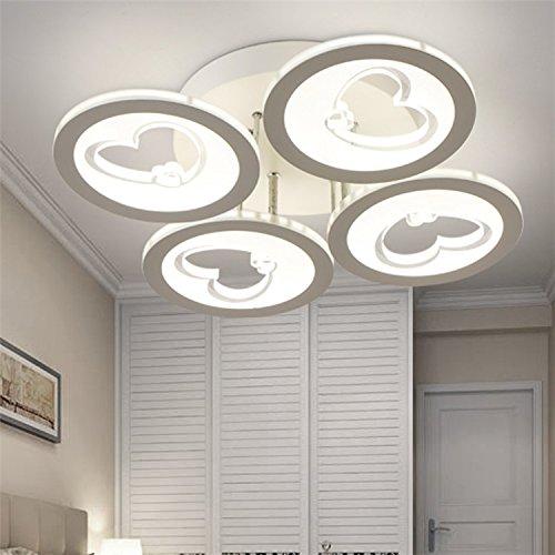 Cuore dell'India soffitto detrazione moderno acrilico minimalista LED Ferro casa di moda creativa soggiorno potenza soffitto camera da letto 33-99w interruttore a pulsante , white light , 4 head
