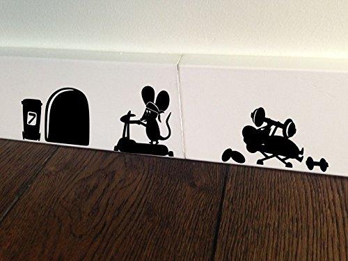 Mouse Jogging Run motivazione Fitness Palestra Minie foro Home Live Kids Funny-Sticker, decalcomania da parete Baseboard Bambini mouse Battiscopa