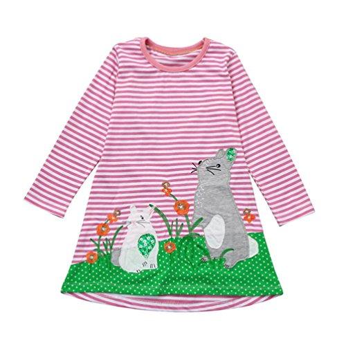 FeiliandaJJ Mädchen Nette Tiere Stickerei Baumwolle Streifen Langarm T-shirt Kleid (Rosa, 7T (6-7Jahre)) (Kleid Jacke Rosa)