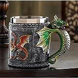 Berrose-Drachen 3D Kaffee Tasse Bier 450ml Zauberstab rostfrei Stahlharz Geschenk-Tasse-Tasse Edelstahl Trinkschale Geschenk