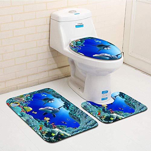 ZGYQGOO PVC-bedruckter Badteppich Toilettenmatten-Set rutschfeste Matte @ 1_50x80 40x50 35x45