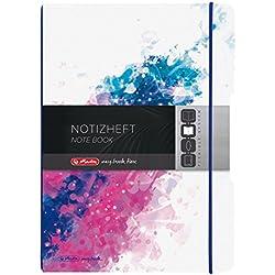 Herlitz 50003280 Notizheft flex, A4, 2 x 40 Blatt liniert und kariert, PP, rosa