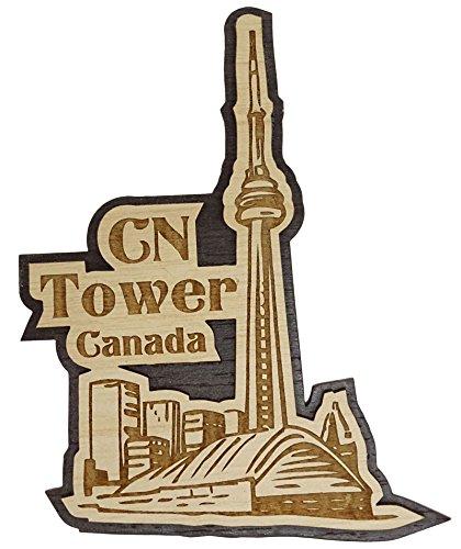 Cn Kanada, Tower (Printtoo Souvenir Geschenk Sammlerstuecke CN Tower Kanada Gravierte Holz Kuehlschrankmagnet)