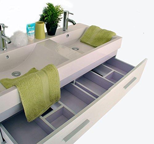 SAM® Badmöbel-Set 3-tlg, Hilo, hochglanz weiß, Softclose Badezimmermöbel, Badezimmermöbel, Doppelwaschplatz 120 cm Mineralgussbecken, Spiegel, Hochschrank - 5