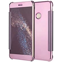 Funda® Espejo Enchapado Flip Funda para Huawei P8 Lite(2017)/Huawei P9 Lite(2017)/Huawei Honor 8 Lite/Huawei Nova Lite/Huawei GR3(2017) (Oro Rosa)