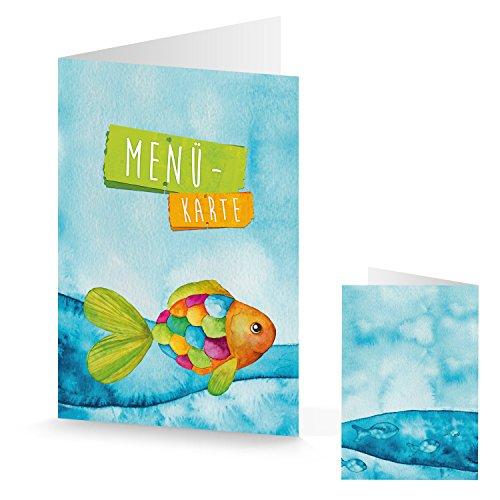10pieza Azul Turquesa Naranja Verde pescado Menú Tarjetas Regenbogenfisch para comunión Bautizo...