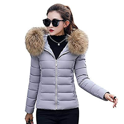 BAINASIQI Damen Daunenjacke Elegant Winter kurz Jacke Parka Steppjacke Einfarbig Kapuzenjacke Slim Hooded Outerwear Übergangsjacke