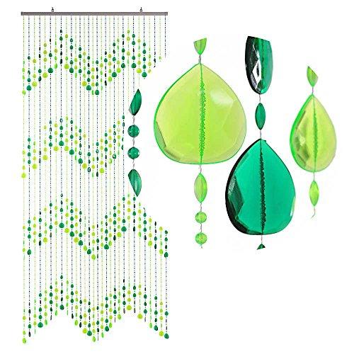 HAB & GUT (DV0253) cortina para puertas Diseño: GOTAS, Color: VERDE,