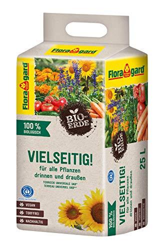Floragard Bio-Erde Vielseitig 1x25 Liter - Universalerde für alle Pflanzen drinnen und draußen - torffrei und vegan