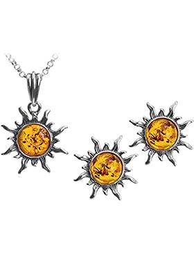 Bernstein Sterling Silber Sonne Schmuck Set Ohrstecker Anhänger Halskette Kette 46 cm
