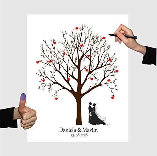 Wedding tree zur Hochzeit, no.33 Brautpaar Leinwand, Hochzeitsspiel Fingerabdruckbaum (40x60)
