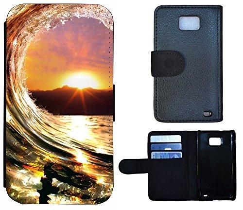 Flip Cover Schutz Hülle Handy Tasche Etui Case für (Apple iPhone 5 / 5s, 1042 Tiger Animiert Braun Weiß) 1035 Surfer Welle