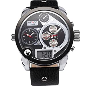 Weide 3 Time Zone Oversize Black White Dial Dual Display Analog Mens Bracelet Watch