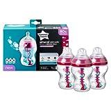 Advanced Anti-Colic Decorated Feeding bottles with Heat Sensing Tube 3 x 260ml/9floz BPA Free (pink/x3)