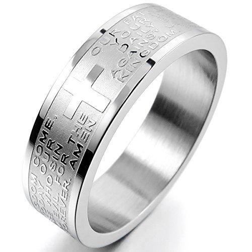 MunkiMix Ancho 6mm Acero Inoxidable Anillo Ring Banda Venda El Tono De Plata Inglés Biblia Señores Oración Cruzar Cruz Talla Tamaño 12 Hombre,Mujer