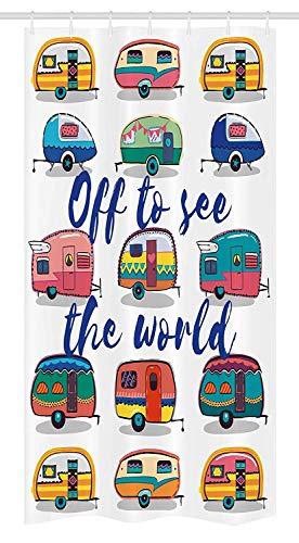 Yeuss Camper Stall Duschvorhang von, Off, um die Welt inspirierende Zitat auf Mini Caravans Hintergrund Vintage Reise Bild, Stoff Badezimmer Dekor Set mit Haken, Multi zu sehen