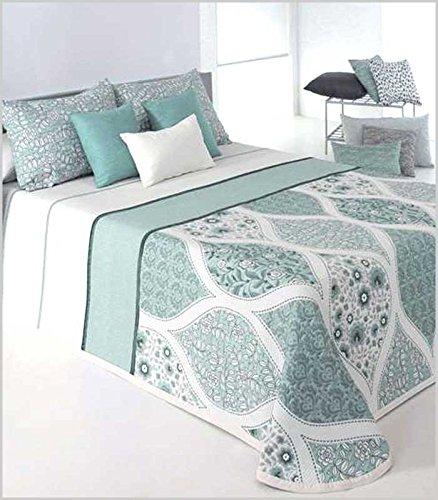Couvre-lit bouti cecyly de grande qualité. En Vert Et Blanc ou beige-marrón et blanche, pour lits de 135 cm et 150 cm 250_x_270_cm vert
