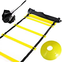 Huvai, scala di allenamento da 6m, con 12pioli, con paracadute di resistenza, 12coni con dischi gialli, una sacca da trasporto