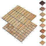 wodewa Holz WandverkleIdung Holzmosaik FlIese 28x28cm I Eiche I Echtholz Wandpaneele Moderne Wanddekoration Holz Holzverkleidung Fußboden Decke I 30x93mm