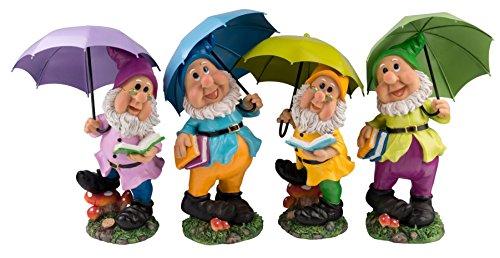 Großer Gartenzwerg mit grünem Schirm und Mütze 38,5 cm bunte Zwerg Figur für Haus und Garten Gnom Schirm Grün