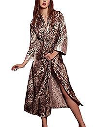 Dolamen Mujer Vestido Kimono Satén, Camisón para mujer, Lujoso Impresión floral Pijamas Camisón Robe Albornoz Dama de honor Ropa de dormir Pijama, Busto 118cm, 46.46 inch