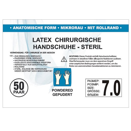 SFM OP Latex : 6.0, 6.5, 7.0, 7.5, 8.0, 8.5, 9.0 steril gepudert mikro texturiert chirurgische OP-Handschuhe Einmalhandschuhe Einweghandschuhe weiß 7.0 (50 Paare)
