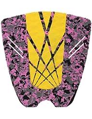 MagiDeal 5 Pieza Estera Cubierta Almohadilla De Cola Tabla De Surf Tabla Corta Agarre De Tracción Pisa Fuerte Colorido - Amarillo + Camo, 31 x 30 cm