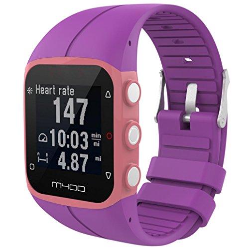 IGEMY 23MM Große Silikon Gummi Uhrenarmband Ersatz Handgelenk Bügel für Polar M400 M430 Fitness Uhr (Lila) - Uhrenarmband Silikon 23mm